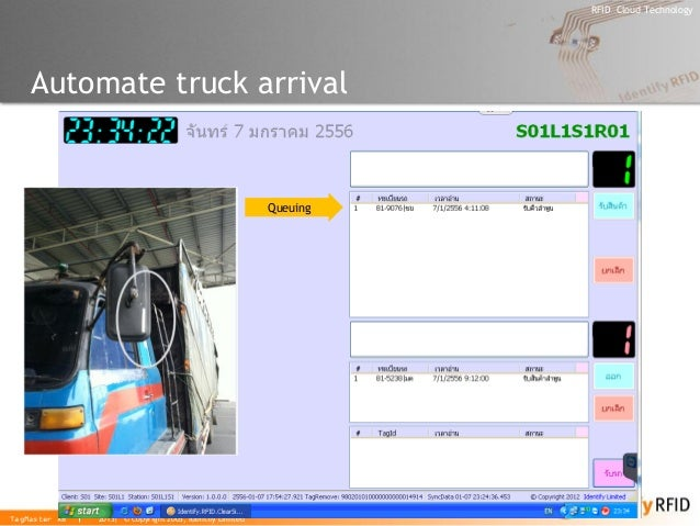 2013| © Copyright 2005, Identify Limited  RFID Cloud Technology  TagMaster AB  Automate truck arrival  Queuing