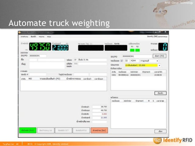 2013| © Copyright 2005, Identify Limited  RFID Cloud Technology  TagMaster AB  Automate truck weighting