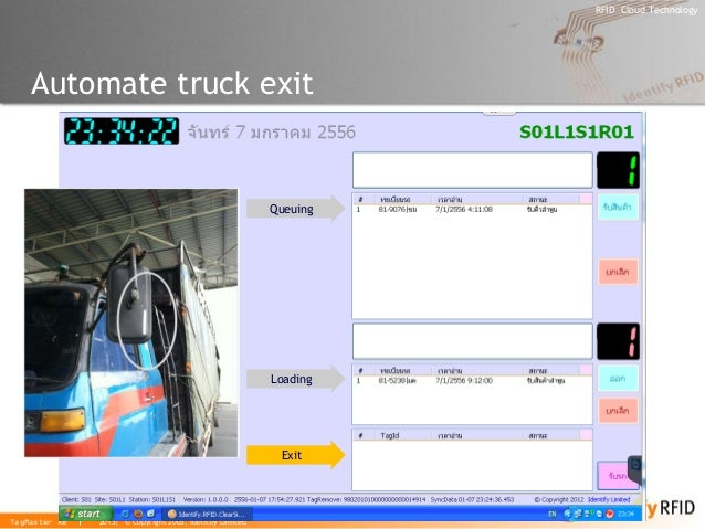 2013| © Copyright 2005, Identify Limited  RFID Cloud Technology  TagMaster AB  Automate truck exit  Queuing  Loading  Exit