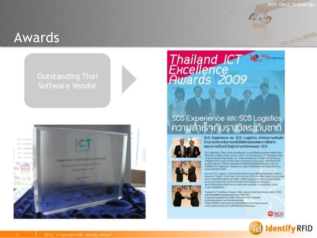 2013| © Copyright 2005, Identify Limited  RFID Cloud Technology  6  Awards  Outstanding Thai Software Vendor