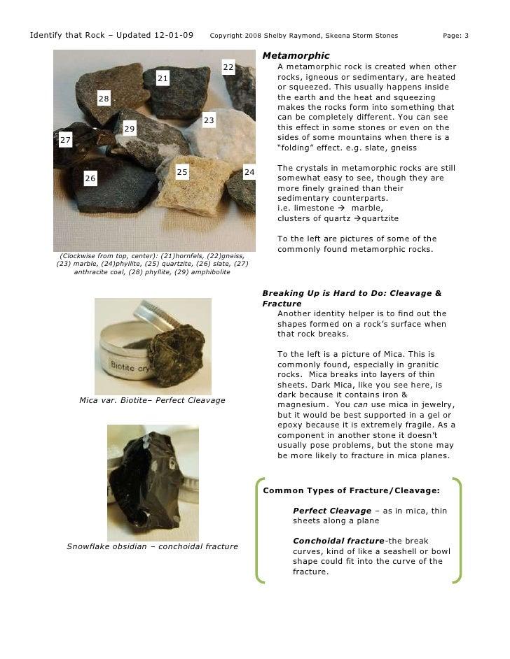 Identify Rocks And Minerals Shelby Raymond Rev12 1 09 My Copy
