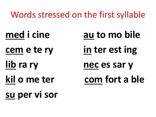 Identify the stressed and unstressed syllables for Terrace in a sentence