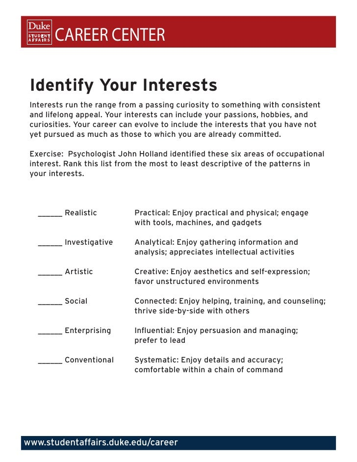 identify your interests