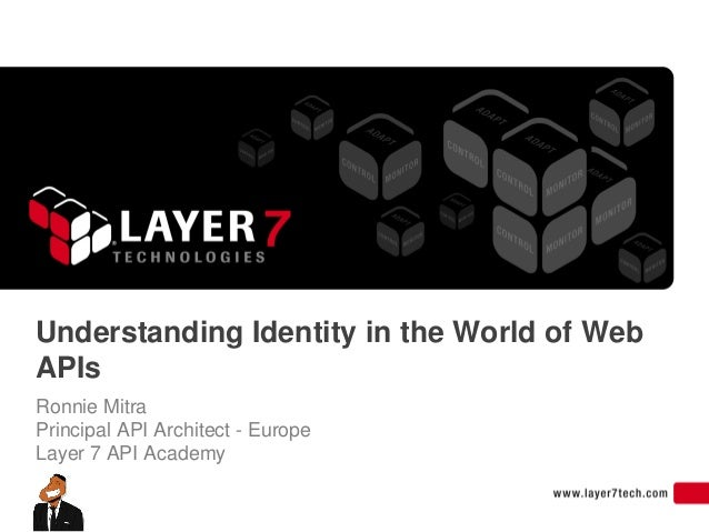 Understanding Identity in the World of WebAPIsRonnie MitraPrincipal API Architect - EuropeLayer 7 API Academy