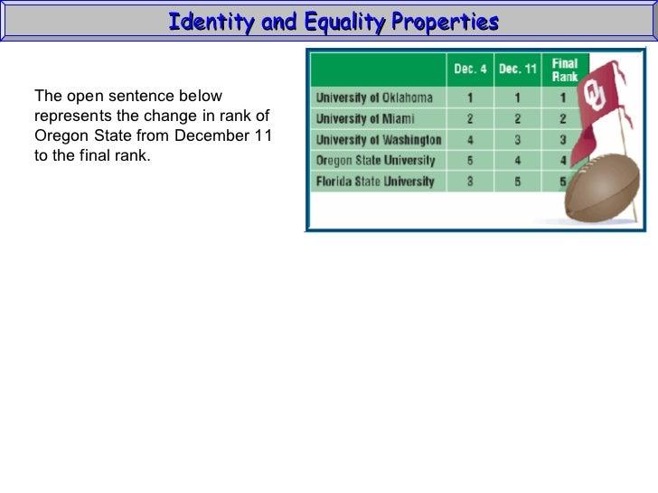 Identity & Equality Properties (Algebra1 1_4) Slide 3