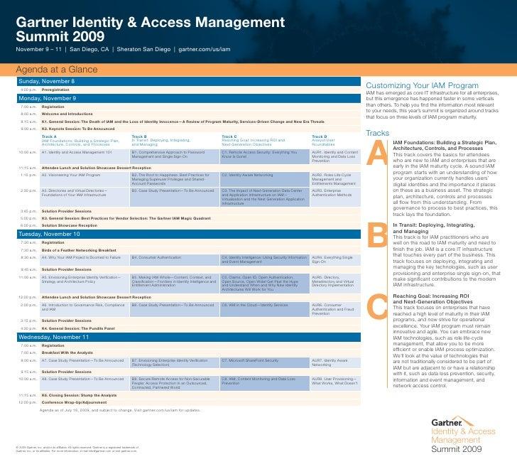 Identity Access Managment Summit Agenda