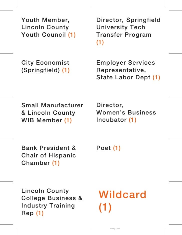 Youth Member,        Director, SpringfieldLincoln County       University TechYouth Council (1)    Transfer Program       ...