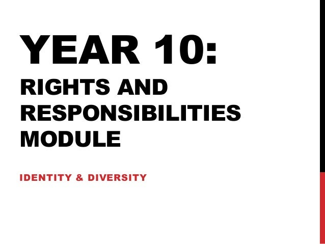 YEAR 10: RIGHTS AND RESPONSIBILITIES MODULE IDENTITY & DIVERSITY