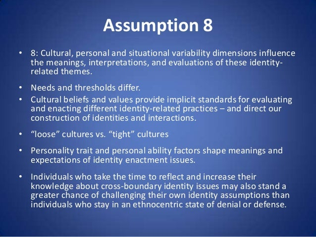 Assumption 8 • 8: Cultural, personal and situational variability dimensions influence the meanings, interpretations, and e...
