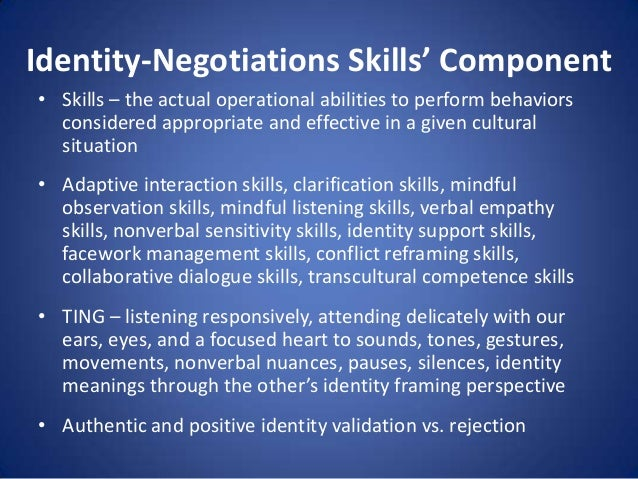 Identity-Negotiations Skills' Component • Skills – the actual operational abilities to perform behaviors considered approp...