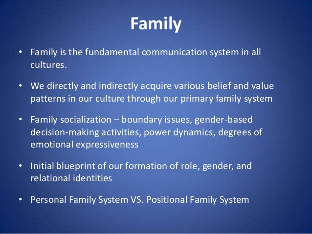 Family • Family is the fundamental communication system in all cultures.  • We directly and indirectly acquire various bel...