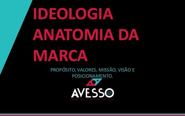 IDEOLOGIA ANATOMIA DA MARCA PROPÓSITO, VALORES, MISSÃO, VISÃO E POSICIONAMENTO.