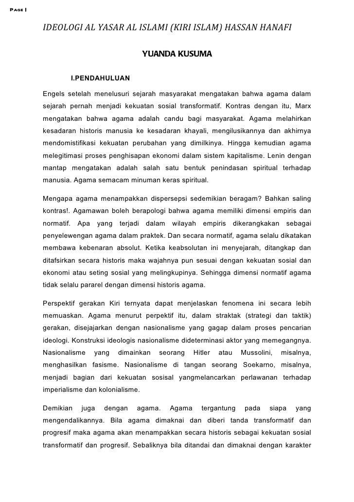 Page |         IDEOLOGI AL YASAR AL ISLAMI (KIRI ISLAM) HASSAN HANAFI                                          YUANDA KUSU...