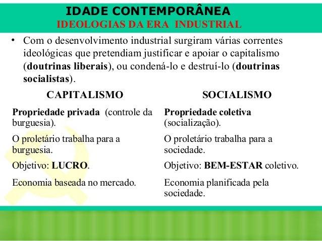 IDADE CONTEMPORÂNEA IDEOLOGIAS DA ERA INDUSTRIAL • Com o desenvolvimento industrial surgiram várias correntes ideológicas ...