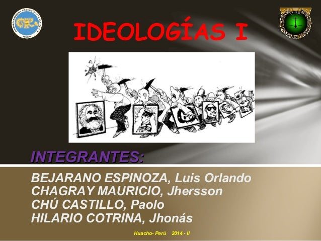 IDEOLOGÍAS I  IINNTTEEGGRRAANNTTEESS::  BEJARANO ESPINOZA, Luis Orlando  CHAGRAY MAURICIO, Jhersson  CHÚ CASTILLO, Paolo  ...