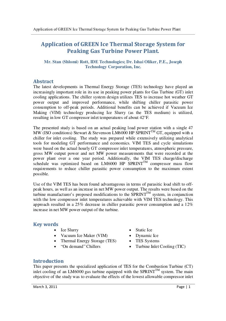 Application of GREEN Ice Thermal Storage System for Peaking Gas Turbine Power Plant    Application of GREEN Ice Thermal St...