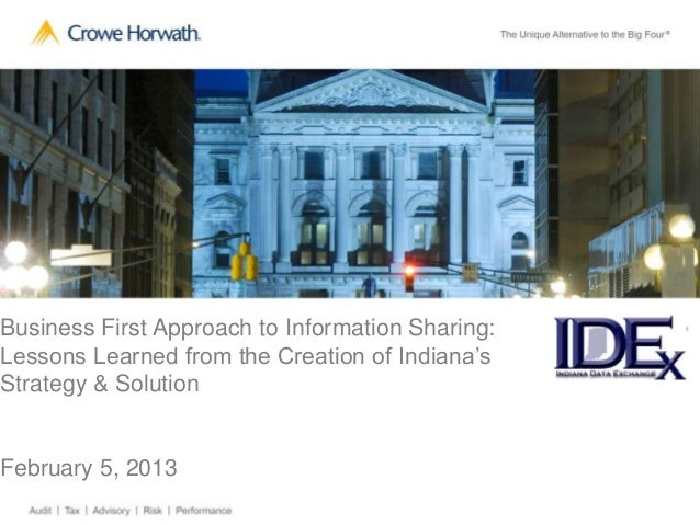 Business First Approach to Information Sharing:   R                                                  ELessons Learned from...