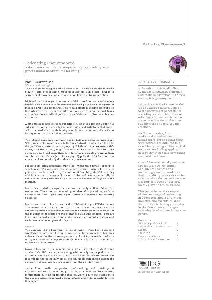 Podcasting Phenomenon/     Podcasting Phenomenon: a discussion on the development of podcasting as a professional medium f...