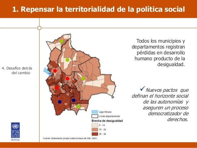 1. Repensar la territorialidad de la política social Todos los municipios y departamentos registran pérdidas en desarrollo...