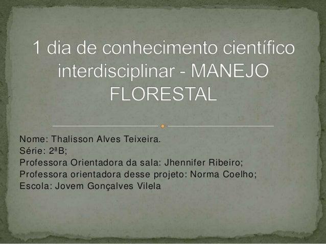 Nome: Thalisson Alves Teixeira. Série: 2ªB; Professora Orientadora da sala: Jhennifer Ribeiro; Professora orientadora dess...