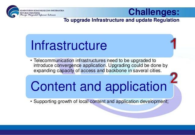 Challenges:               To upgrade Infrastructure and update RegulationInfrastructure• Telecommunication infrastructures...