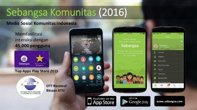 Sebangsa Komunitas (2016) Memfasilitasi interaksi dengan 45,000 pengguna Top Apps Play Store 2015 www.sebangsa.com OTT Nas...