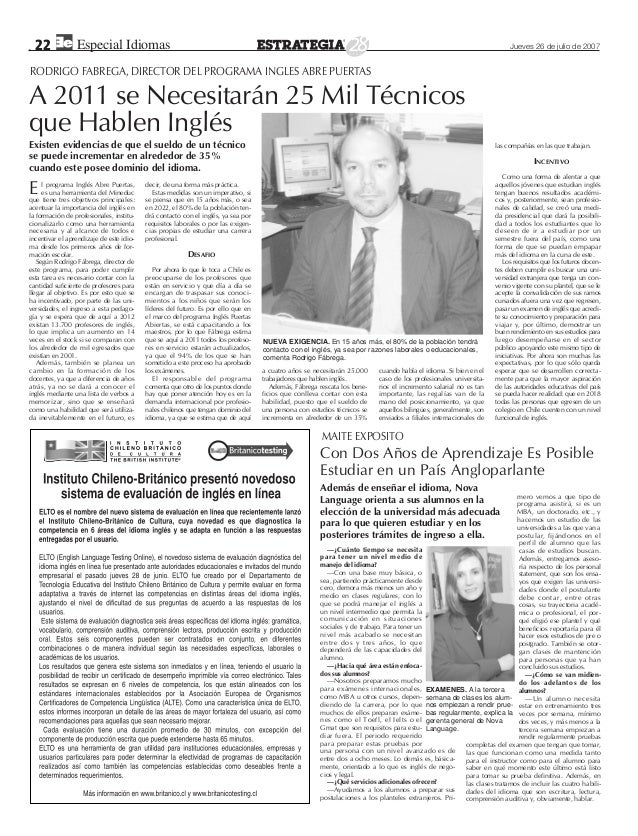 Especial de Idiomas. Diario Estrategia 2007  Slide 3