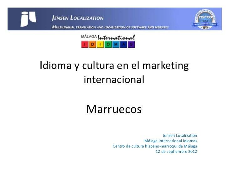 Idioma y cultura en el marketing         internacional          Marruecos                                          Jensen ...