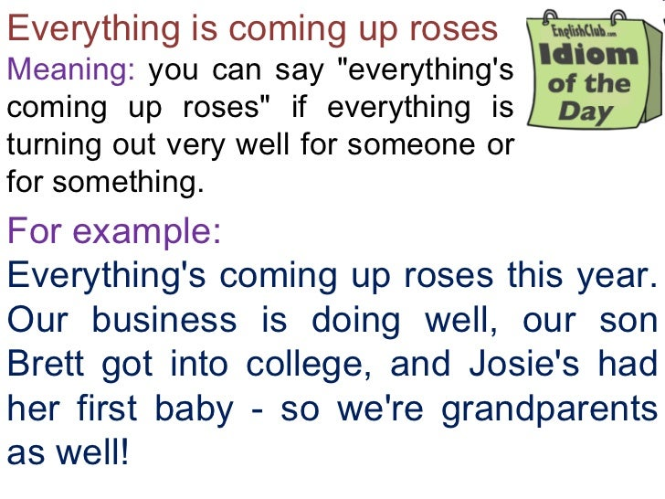 """Everything is coming up roses Meaning:  you can say """"everything's coming up roses"""" if everything is turning out ..."""