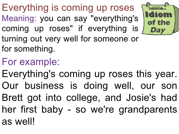 """Everything is coming up rosesMeaning: you can say """"everythingscoming up roses"""" if everything isturning out very well for s..."""