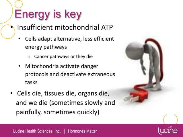Lucine Health Sciences, Inc.   Hormones Matter Energy is key • Insufficient mitochondrial ATP • Cells adapt alternative, l...