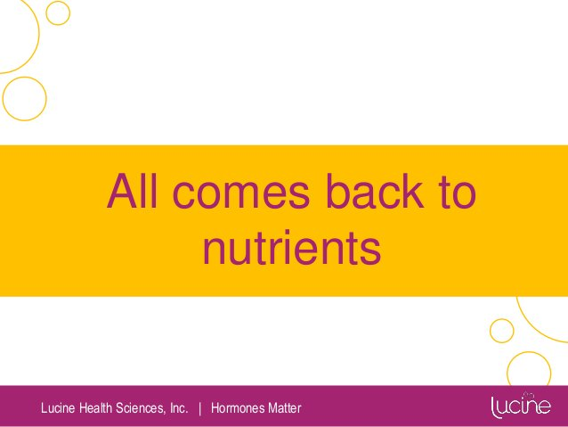 Lucine Health Sciences, Inc.   Hormones Matter All comes back to nutrients