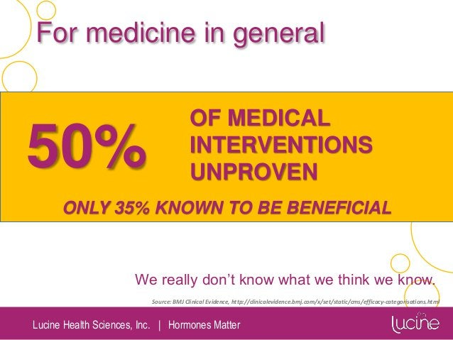 Lucine Health Sciences, Inc.   Hormones Matter 50% OF MEDICAL INTERVENTIONS UNPROVEN ONLY 35% KNOWN TO BE BENEFICIAL Sourc...