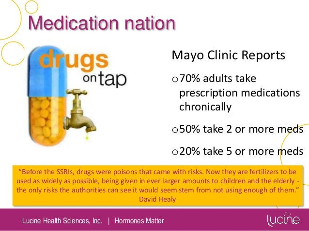 Lucine Health Sciences, Inc.   Hormones Matter Medication nation Mayo Clinic Reports o70% adults take prescription medicat...