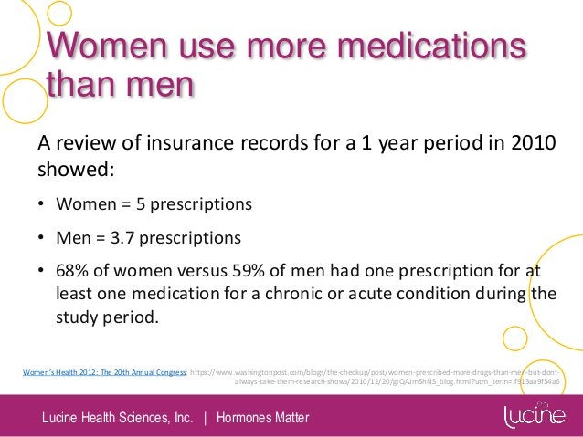 Lucine Health Sciences, Inc.   Hormones Matter Women use more medications than men A review of insurance records for a 1 y...
