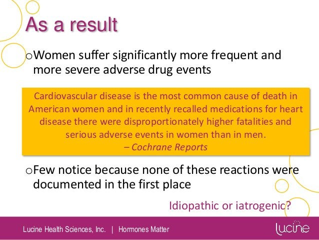 Lucine Health Sciences, Inc.   Hormones Matter As a result oWomen suffer significantly more frequent and more severe adver...
