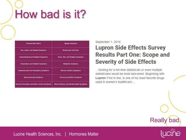Lucine Health Sciences, Inc.   Hormones Matter How bad is it? Really bad.
