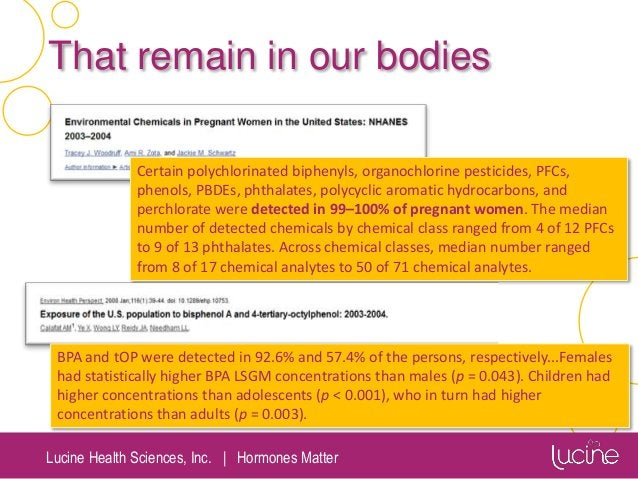 Lucine Health Sciences, Inc.   Hormones Matter That remain in our bodies Certain polychlorinated biphenyls, organochlorine...