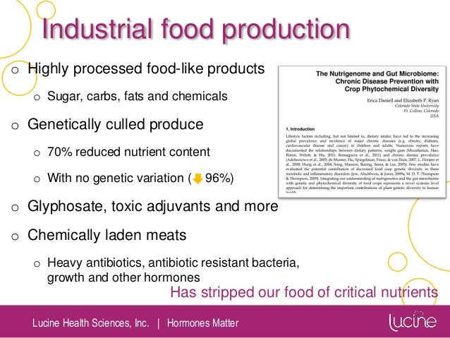 Lucine Health Sciences, Inc.   Hormones Matter Industrial food production o Highly processed food-like products o Sugar, c...
