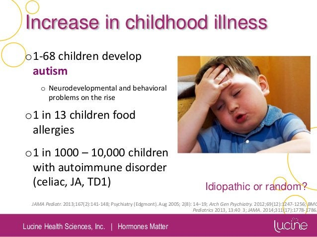 Lucine Health Sciences, Inc.   Hormones Matter Increase in childhood illness o1-68 children develop autism o Neurodevelopm...