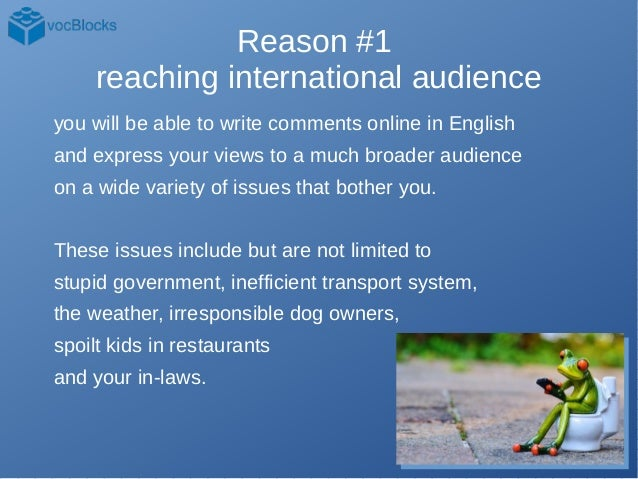 An Idiot's List of 15 and A Half Reasons to Learn English Slide 2