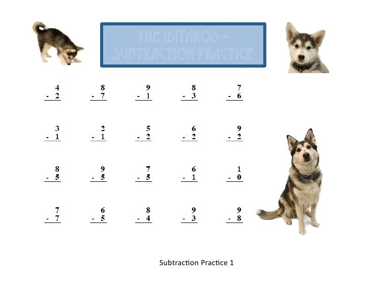 The Iditarod Subtraction Practice SubtracOon PracOce 1