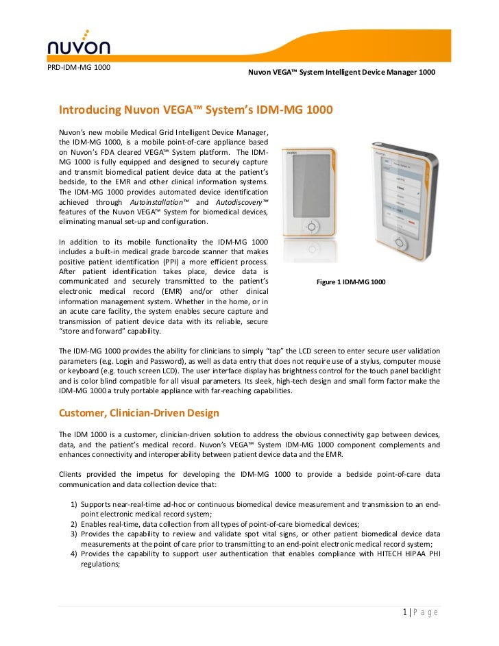 PRD-IDM-MG 1000                                                           Nuvon VEGA™ System Intelligent Device Manager 10...