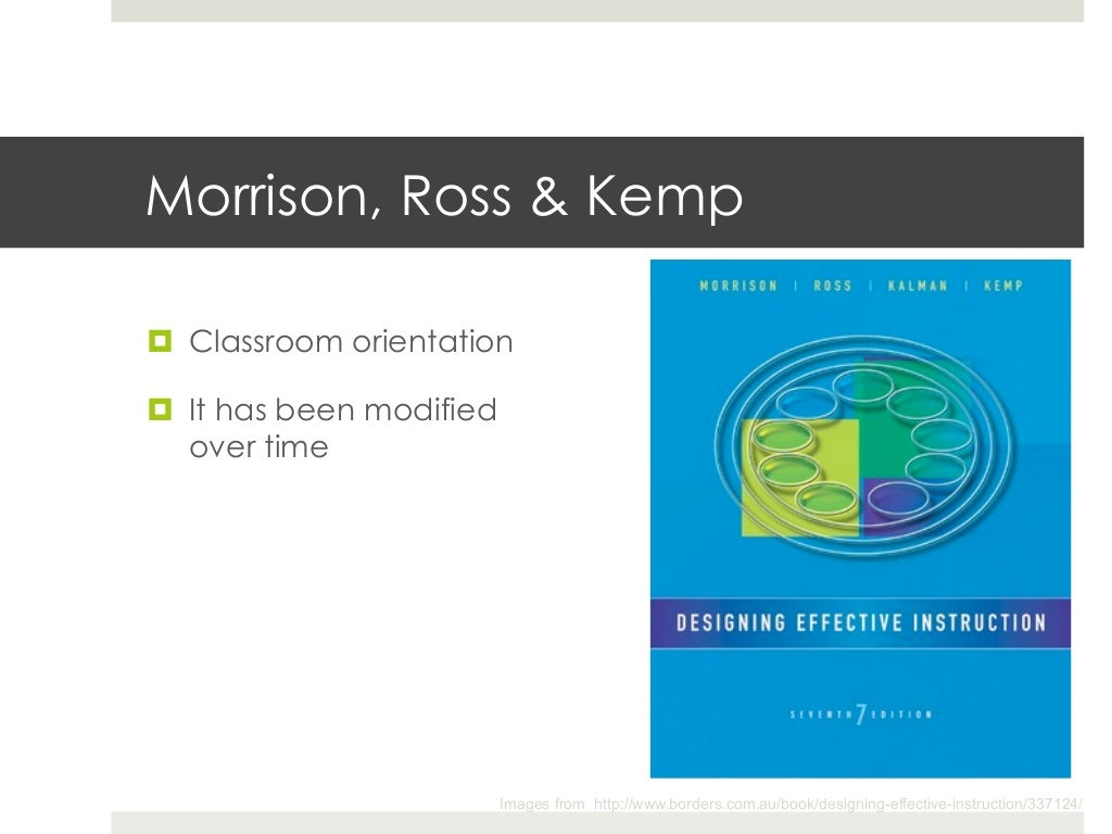 Classroom Oriented Instructional Design Models ~ Morrison ross kemp¤ classroom