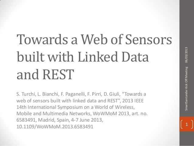 """Towards a Web of Sensors built with Linked Data and REST S. Turchi, L. Bianchi, F. Paganelli, F. Pirri, D. Giuli, """"Towards..."""