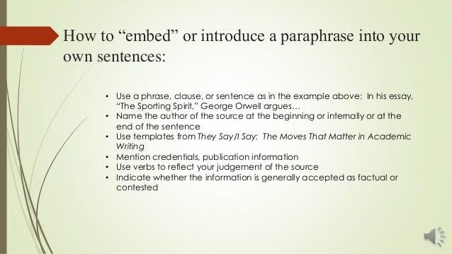 Paraphrasing in an essay