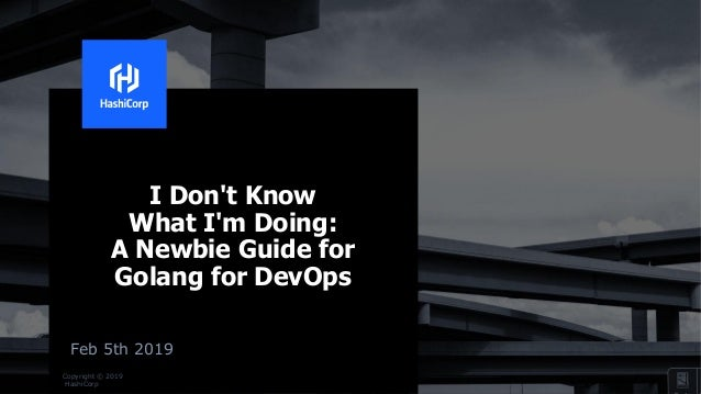 Copyright © 2019 HashiCorp I Don't Know What I'm Doing: A Newbie Guide for Golang for DevOps Feb 5th 2019