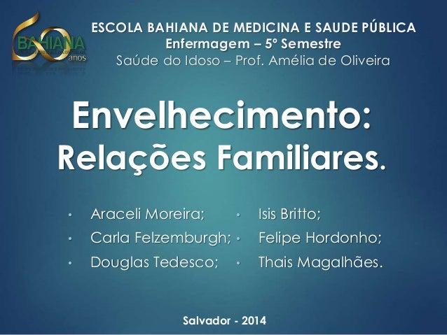 ESCOLA BAHIANA DE MEDICINA E SAUDE PÚBLICA  Enfermagem – 5º Semestre  Saúde do Idoso – Prof. Amélia de Oliveira  Envelheci...