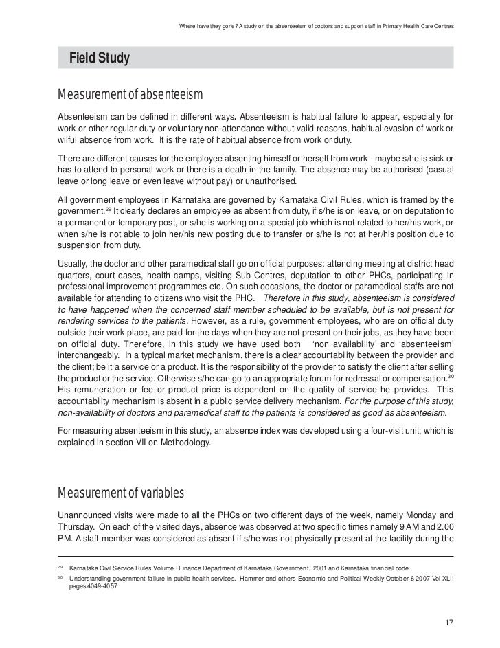 employee abseentism Absenteeism is, therefore, a significant concern in the field of human  employee attendance at work, productivity, service delivery, and organisational commitment are critical components of optimal human resource performance and efficient human resource management the management of.