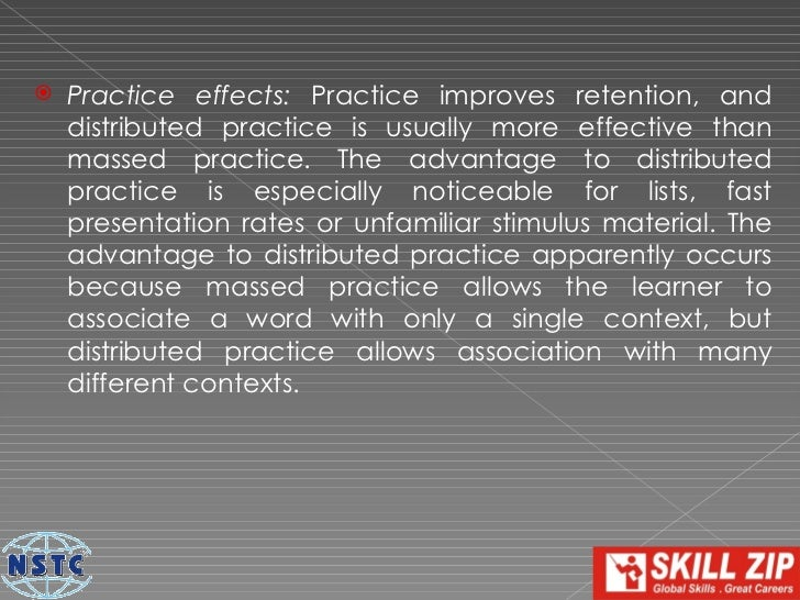    Transfer effects: Transfer effects are effects of previous    learning on the learning of new material. Positive    tr...